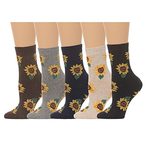 Women's Sunflower Print Crew Socks - (5 pair set) (One Size (5-8), Multi)