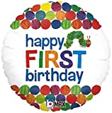 Happy 1st Birthday Balloon The Very Hungry Caterpillar by Eric Carle 18 Round Foil for Helium Inflation Party Decoration in Green Blue Orange Red Yellow Polka Dots and Multi Color Bug Words on White