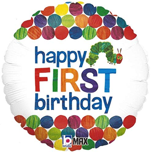 Happy 1st Birthday Balloon The Very Hungry Caterpillar by Eric Carle 18 Round Foil for Helium Inflation Party Decoration in Green Blue Orange Red Yellow Polka Dots and Multi Color Bug Words on White -