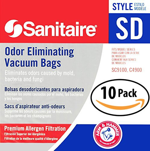 Electrolux Sanitaire SD Odor Eliminating Vacuum Bags 10 Pack. Genuine Professional Quality, Long-Life Allergen Filters with Arm & Hammer Baking Soda. Model 63262 Fits SC9100 S9120 SC9150 SC9180 C4900 Sanitaire Vacuum Filter