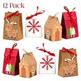 NIMU 12 Pack Premium Christmas Gift Bag with Special Design Reusable Craft Paper Boxes for Presents Candies Cookies Bundle Xmas Theme Gift Wrapping Bags Great Holiday Bulk Prime: more info