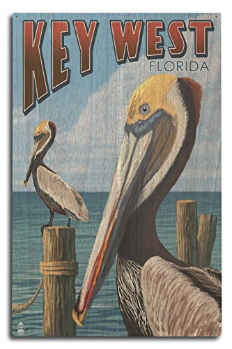 Lantern Press Key West, Florida - Brown Pelican (10x15 Wood Wall Sign, Wall Decor Ready to Hang)