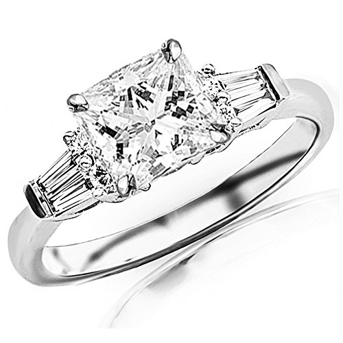 0.85 Ctw 14K White Gold GIA Certified Princess Cut Prong Set Round And Baguette Diamond Engagement Ring , 0.5 Ct G-H VVS1-VVS2 Center 0.5 Ct Princess Baguette