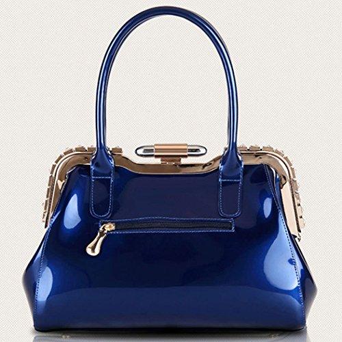 Oscuro Carteras Carteras Bolsos mujer Azul mano Cuero Bolsos de Azul de totes bandolera Para DEERWORD mano asa con FaIHqy4