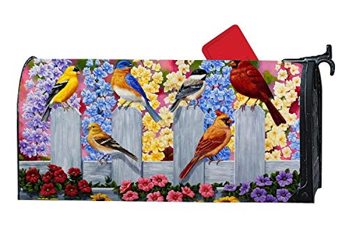 Springtime Wrap - Premium Vinyl Mailbox Cover Mailbox Sticker Decorative Magnetic Mailbox Wrap Standard with Spring Birds Springtime Party Flowers