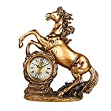 ZAZAZA Health UK Clock- Clock Classical Dark Bronze Horse Resin Carved Mute Sitting Bell Entrance Antique Art Desk Clock Welcome (Size : A)