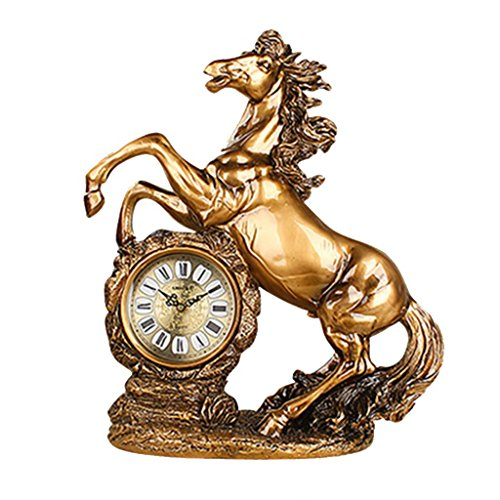ZAZAZA Health UK Clock- Clock Classical Dark Bronze Horse Resin Carved Mute Sitting Bell Entrance Antique Art Desk Clock Welcome (Size : A) by ZAZAZA