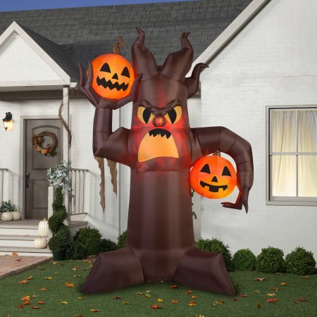 Gemmy Airblown Inflatable 10.5' X 7' Brown Scary Tree Halloween Decoration -