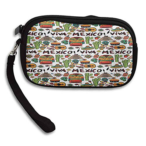 (Mexican Coin Purse Viva Mexico with Native Elements Poncho Tequila with Salsa and Hot Peppers Image W 5.9
