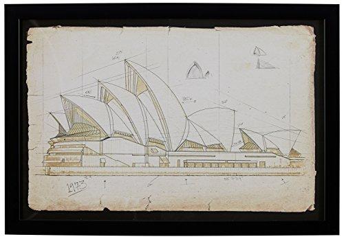 Stone & Beam Modern Print of Sydney Opera House Sketch, Black Frame, 17
