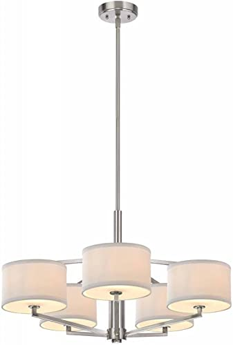 Dolan Designs 1880-09 Monaco 5 Light Chandelier, Satin Nickel