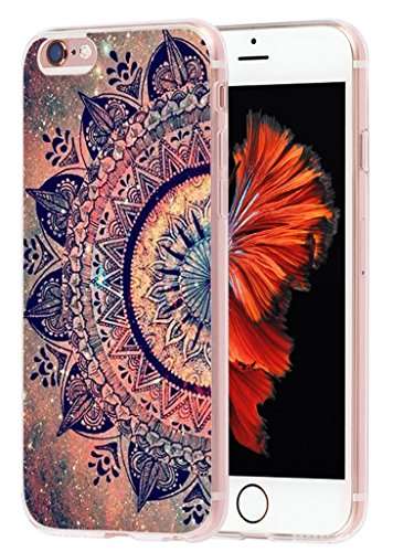 Case for iPhone 6 Flower & Cover for 6S & MUQR Flexible Gel Silicone Slim Drop Proof Protection Cover Compatible for iPhone 6/6S & Wonderful Purple Floral Design