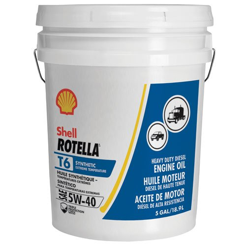 Oil 5 Gallon Pail - Shell Rotella T6 Full Synthetic Heavy Duty Engine Oil 5W-40, 5 Gallon Pail