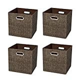 Posprica Foldable Storage Basket Bin Closet Organizer Cubes Drawers Boxes, Shiny Thick Cloth Shelf Cabinet Containers-11''×11'',4pcs,Brown