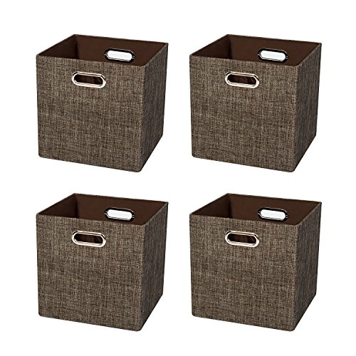 Posprica Foldable Storage Basket Bin Closet Organizer Cubes Drawers Boxes, Shiny Thick Cloth Shelf Cabinet Containers-11''×11'',4pcs,Brown by Posprica