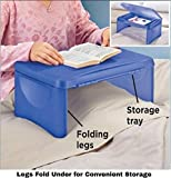 "Kids Folding 17"" x 11"" Lap Desk with Storage - Blue - Durable Lightweight Portable Laptop Computer Children's Desks for Homework or Reading. No Assembly Required."