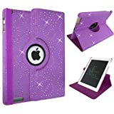 Xtra-Funky Range iPad Mini 1 / 2 / 3 - Crystal Diamante PU Leather 360 Degree Rotating Smart Case with Auto Wake / Sleep Function + Screen Protector and Soft Tipped Stylus - Crystal Purple