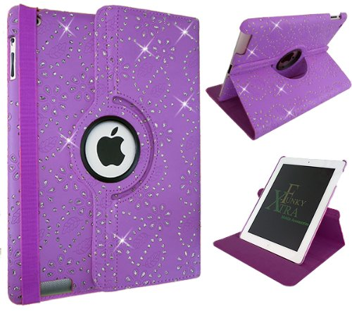 Xtra-Funky Range iPad AIR 1 (iPad 5) Crystal Diamante PU Leather 360 Degree Rotating Smart Case with Auto Wake / Sleep Function Includes a Screen Protector and Soft Tipped Stylus - PURPLE