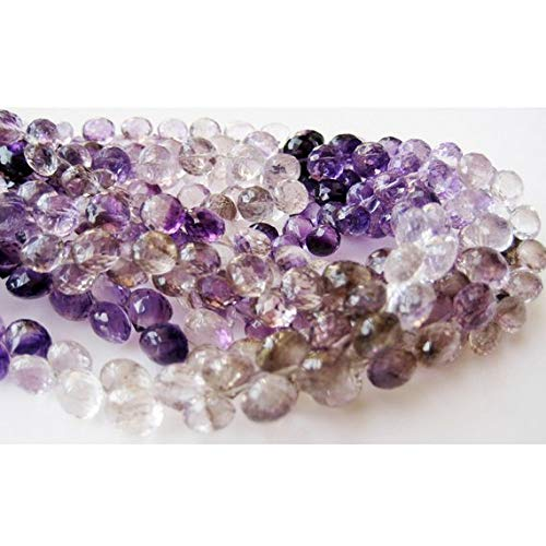Super Quality Gemstone Beautiful Jewelry Rutilated Amethyst Bead, Amethyst Rutile, Faceted Onion Briolette Beads, 7mm Beads, 9 Inch Strand Code-JP-3677   B07KNQMZZ6