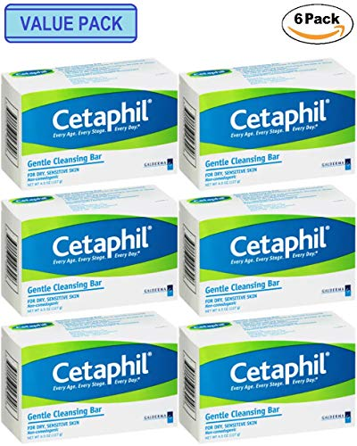 6 x Cetaphil Gentle Cleansing Bar for Facial and Body Cleansing 4.5 oz.
