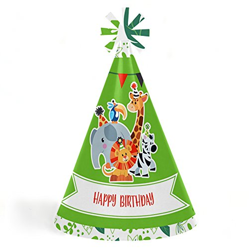 Jungle Party Animals - Cone Safari Zoo Animal Happy Birthday Party Hats for Kids and Adults - Set of 8 (Standard Size) (Happy Birthday Cone Hat)
