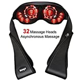 ikeepi Upgraded Back Neck and Shoulder Massager with Heat Shiatsu Deep Kneading Massage with 8 Big and 24 Small Rollers for Thoroughly Body Massage Relieve Pain Sore Muscles for Home, Office,Car Use