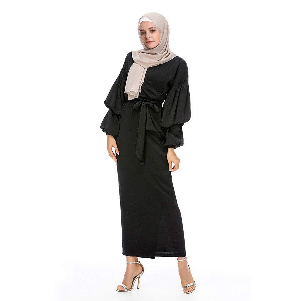 PaJau Muslim Slim Ethnic Style Noble Dress Women Modest Maxi Dress with Belt O-Neck Puff Sleeve Elegant Long Robe Kaftan Abaya (S, Black)