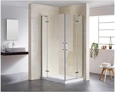 Mampara de ducha con bisagras de 6 mm de cristal nano, para entrada en esquina, puerta de ducha: Amazon.es: Bricolaje y herramientas