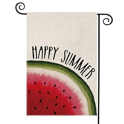 AVOIN Hello Summer Watermelon Garden Flag Vertical Double Sided, Seasonal Summer Fruit Rustic Burlap Yard Outdoor Decoration 12.5 x 18 Inch