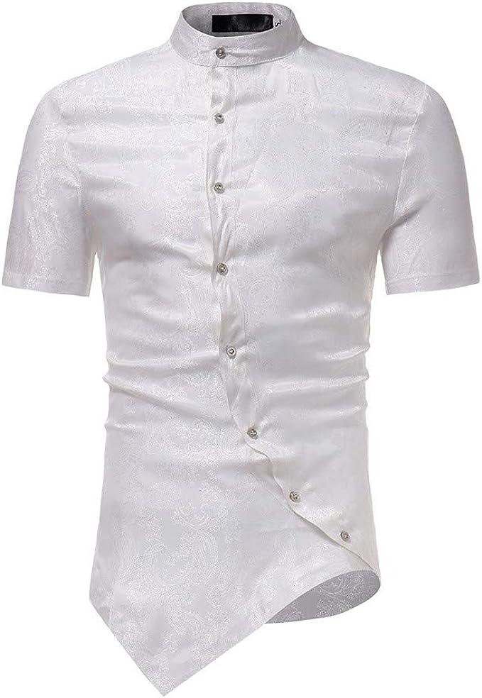 Camicie a Maniche Lunghe da Uomo Camicia a Manica Lunga Slim Fit Camicia Steampunk Abbottonatura Camicie