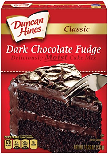 Duncan Cake Mix Chocolate Hines - Duncan Hines Classic Cake Mix, Dark Chocolate Fudge, 15.25 Ounce (Pack of 12)