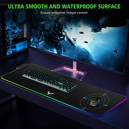Blade Hawks RGB Gaming Mouse Pad, 3 USB Port Large Soft LED Mouse Pad with Speaker, 15 Lighting Mode, Water Resistance and Anti-Slip Extended Mouse Mat for Gaming (31x11.8x0.2 in)