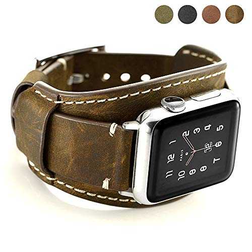 Coobes Compatible with Apple Watch Band 44mm 42mm Men Women Genuine Leather Compatible iWatch Bracelet Wristband Strap Compatible Apple Watch Series 4/3/2/1 (Crazy Horse Cuff Coffe, 44/42 mm)