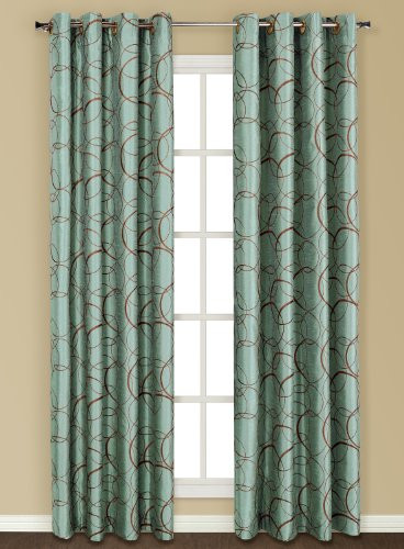 United Curtain Sinclair Embroidered Window Curtain Panel, 54 By 84 Inch,  Blue