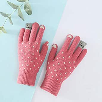 Guodishang Warm gloves female winter cartoon thick five