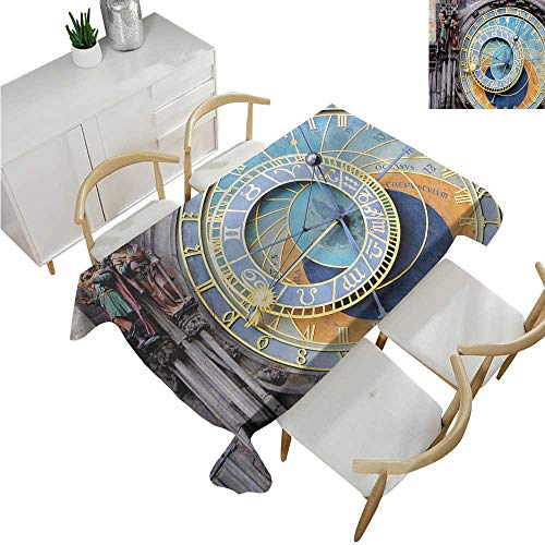familytaste Clock,Rectangle Table Cover Cloth,Prague Astronomical Clock in The Old Town an European Medieval Landmark of City,Patterned Tablecloth 70