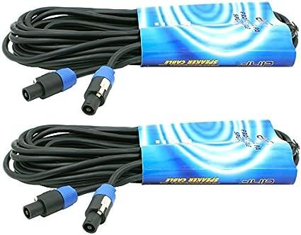 5 Pack 6ft 2 Conductor 12 Gauge AWG Speakon Compatible Amp DJ PA Speaker Cable