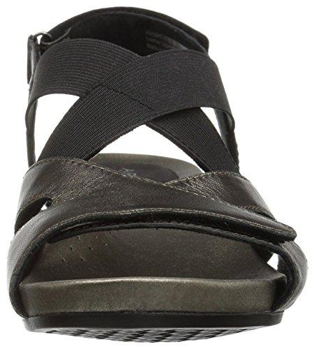 Peltro Sandalo Con Cinturino In Pelle Con Zeppa Aravon