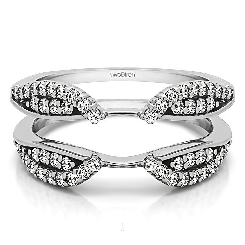 (TwoBirch 0.56 ct. Cubic Zirconia Cathedral Infinity Ring Guard Enhancer in Sterling Silver (1/2 ct. twt.))