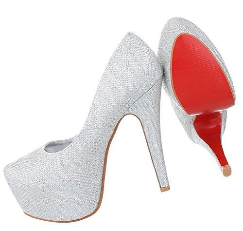 Damen High Heels | Plateau Pumps | Partyschuhe Velours Metallic | Stiletto Schuhe | Hochhackige Pfennigabsatz Pumps | Club Pumps | Schuhcity24 Silber