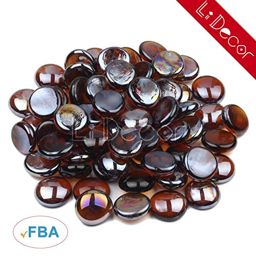 Li Decor Fire Glass Gas Fire Pit Glass Drops Fireglass Beads 10 Pounds 1/2 Inch Amber Luster Brown