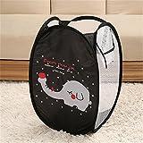 Fashionclubs Foldable Elephant Mesh Pop up Hamper Laundry Basket,Baby Toys Organizer Basket