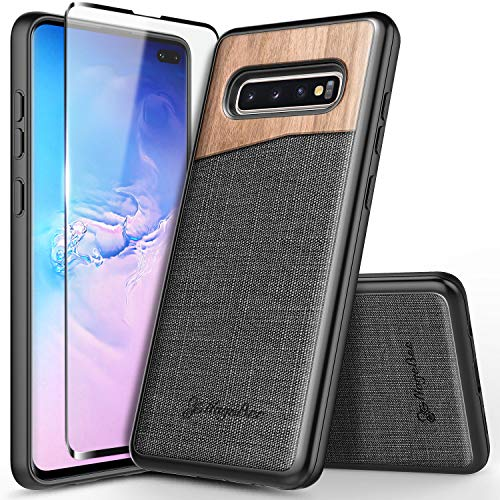 (Galaxy S10+ Plus Case with Full Coverage Screen Protector 3D PET, NageBee Premium Natural Wood Canvas Fabrics Heavy Duty Shockproof Hybrid Defender Durable Case for Samsung Galaxy S10+/S10 Plus -Wood)