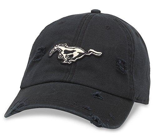 American Needle Ford Mustang Shredded Slouch Cap - Black American Needle Embroidered Cap