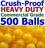 My Balls Pack of 500 Jumbo 3'' Yellow Color Commercial Grade Ball Pit Balls - Air-filled Crush-Proof in 5 Colors Phthalate Free BPA Free PVC Free