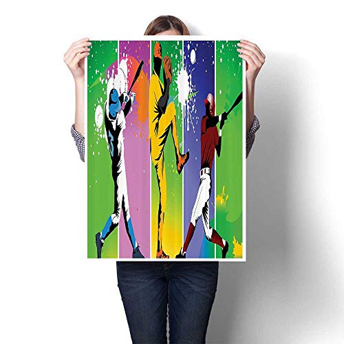 """3D Hand Painting Players in Different Positis in Playground Acti Based Catcher Pitcher Modern Wall Art for Hallway Bathroom,20""""W x 36""""L(Frameless)"""