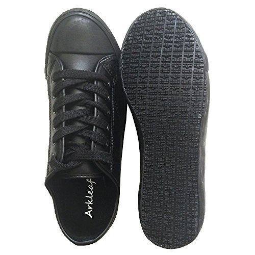 Arkleaf Dames Slip Oliebestendig Antislip Veiligheid Werk Lace Up Ark002 Zwart Lederen Platte Schoenen Zwart