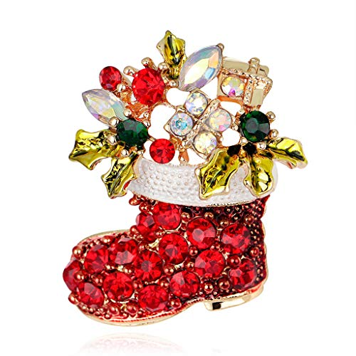 CUIGU Christmas Brooch Pins Ring Bell Rhinestone Jewelry Fashion Xmas Gift Decoration – Christmas Boots No.AL050-A