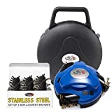 GRILLBOT AUTOMATIC GRILL AND BBQ CLEANER WITH CARRY CASE AND STAINLESS STEEL BRUSHES BUNDLE (BLUE)