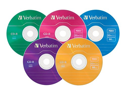Verbatim CD-R 700MB 52X with Color Surface - 25pk Slim Case, Assorted